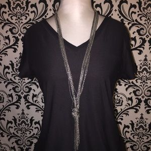 Gray and Black long knot necklace